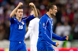 Giorgio Chiellini of Italy celebrates after the EURO 2012 Quaifications game between National teams of Slovenia and Italy, on March 25, 2011, SRC Stozice, Ljubljana, Slovenia. Italy defeated Slovenia 1-0.  (Photo by Vid Ponikvar / Sportida)