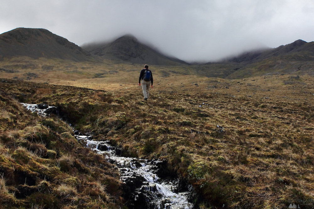 """Hiking up towards the corrie beneath Bruach na Frithe, the """"easiest"""" munro to climb within the Black Cuillin Hills on the Isle of Skye"""