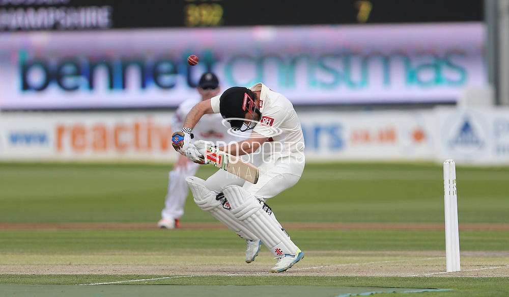 Ed Joyce ducks a bouncer during the LV County Championship Div 1 match between Sussex County Cricket Club and Hampshire County Cricket Club at the BrightonandHoveJobs.com County Ground, Hove, United Kingdom on 8 June 2015.