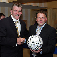 Jim Weir Testimonial...11.04.05<br />Jim Weir with match ball sponsor Derek Flemming<br /><br />Picture by Graeme Hart.<br />Copyright Perthshire Picture Agency<br />Tel: 01738 623350  Mobile: 07990 594431