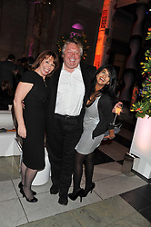 Left to right, KAY BURLEY, NICK FERRARI and KONNIE HUQ at the 50th birthday party for Jonathan Shalit held at the V&A Museum, London on 17th April 2012.