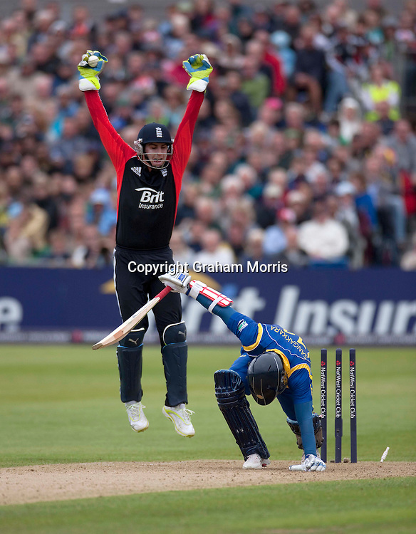 Wicket keeper Craig Kieswetter appeals in vain for the stumping of Kumar Sangakkara off Graeme Swann during the T20 international between England and Sri Lanka at Bristol.  Photo: Graham Morris/photosport.co.nz