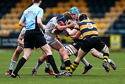 Harry Sayer of Wasps U18 is challenged - Rogan Thomson/JMP - 16/02/2017 - RUGBY UNION - Sixways Stadium - Worcester, England - Wasps U18 v Exeter Chiefs U18 - Premiership Rugby Under 18 Academy Finals Day 3rd Place Play-Off.