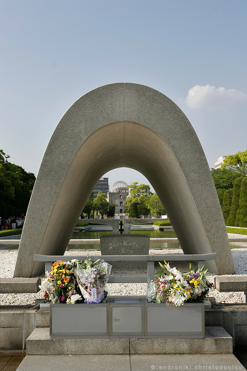 Hiroshima Peace Memorial Park. Kenotaph for the A-Bomb victims.