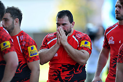 Richard Thorpe (London Welsh) takes on the Chiefs defence - Photo mandatory by-line: Patrick Khachfe/JMP - Mobile: 07966 386802 06/09/2014 - SPORT - RUGBY UNION - Oxford - Kassam Stadium - London Welsh v Exeter Chiefs - Aviva Premiership