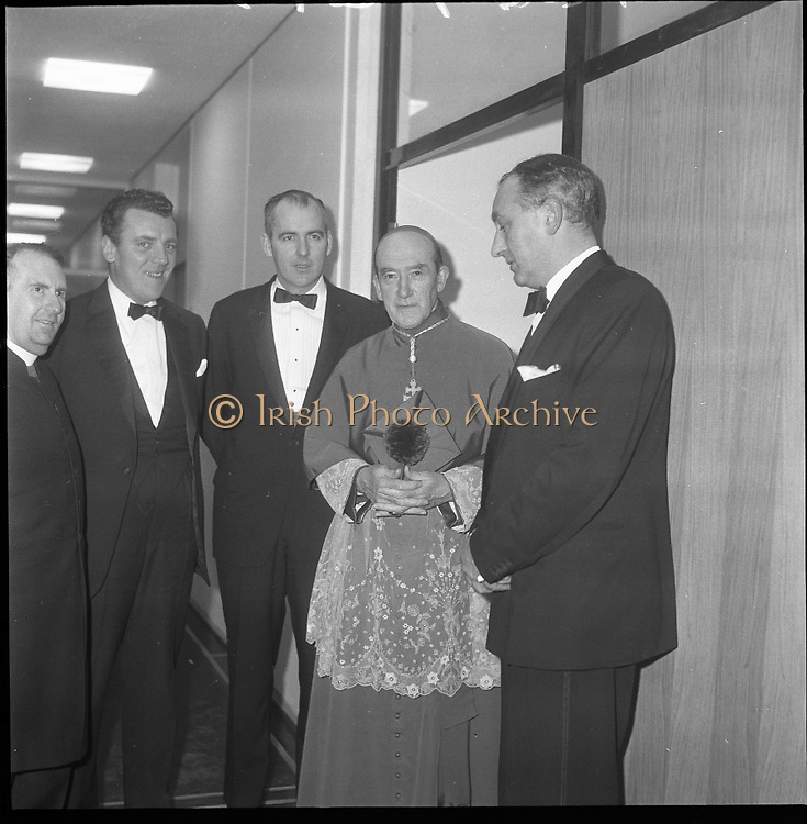 Inauguration of Teilifís Eireann, Montrose..1961..31.12.1961..12.31.1961..31st December 1961..Today saw the inaugeration and official opening of Telifís Éireann. Many dignitaries from the political,religious and entertainment life attended at the ceremony...Archbishop John Charles McQuaid is pictured on his arrival at the Montrose Studios for the stations inaugeration.