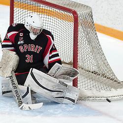 AURORA, ON - Jan 17 : Ontario Junior Hockey League Game Action between Aurora Tigers and Stouffville Spirit. Daniel Mannella #31 of the Stouffville Spirit Hockey Club makes the save.<br /> (Photo by Phillip Sutherland / OJHL Images)