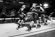 The C-Max Roller Derby league Deathrow Demolition Derby, July 28 2012. The Raging Whoremones versus the Thundering Hellcats, Johannesburg, South Africa.
