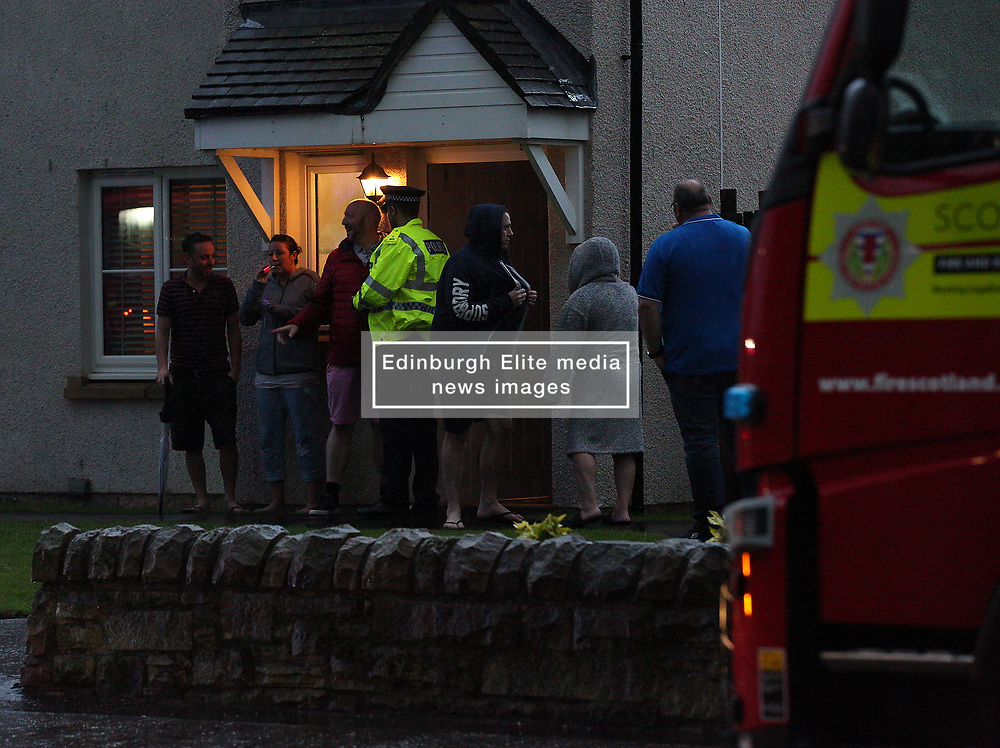 Lightning strike in Prestonpans 10 August 2019; Emergency services attend a Prestonpans house that was struck by lightning during a storm. Lightning struck during a house party and, thankfully, everyone escaped without any injury.<br /> <br /> (c) Chris McCluskie   Edinburgh Elite media