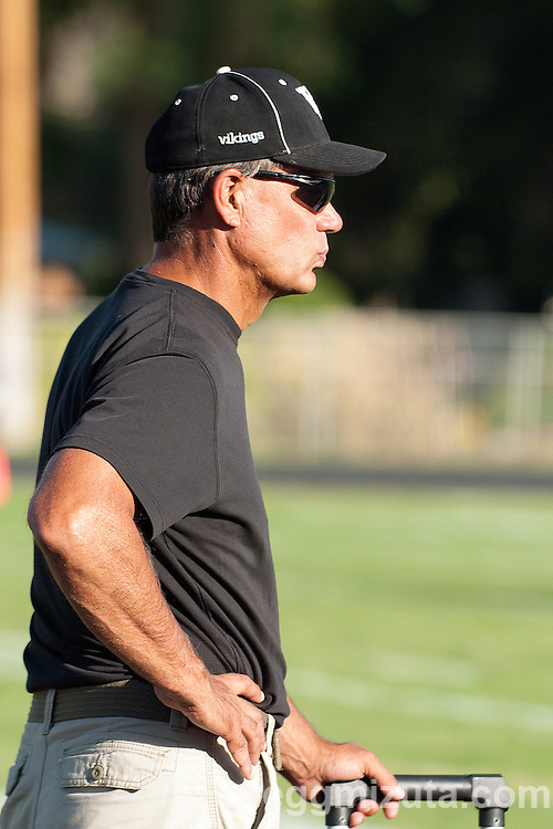 Vale coach Rick Yraguen before the start of the Vale LaGrande football game on September 20, 2013 at Frank Hawley Stadium in Vale, Oregon. Vale won the game 48-13 to improve to 4-0 on the season.