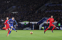 Leicester City's Jamie Vardy scores his sides opening goal during the Premier League match at the King Power Stadium, Leicester.