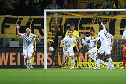 27.08.2015, Signal Iduna Park, Dortmund, GER, UEFA Euro Qualifikation, Borussia Dortmund vs Odd Grenland, Playoff, R&uuml;ckspiel, im Bild Ole Joergen Halvorsen (Odds BK #7) beim Torjubel nach dem Treffer zum 1:0 // during UEFA Europa League Playoff 2nd Leg match between Borussia Dortmund and Odd Grenland Signal Iduna Park in Dortmund, Germany on 2015/08/27. EXPA Pictures &copy; 2015, PhotoCredit: EXPA/ Eibner-Pressefoto/ Schueler<br /> <br /> *****ATTENTION - OUT of GER*****