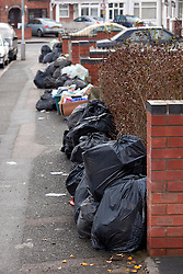 © under licence to London News Pictures. 06/01/2011. Mountains of waste piled up in Lime Tree Road, Saltley, Birmingham today (06/01/2011). Some streets of Birmingham still remain filled with rubbish earlier today as the City Council struggle to clear rubbish left from before Christmas. Picture credit: Dave Warren/London News Pictures...