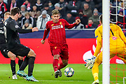 Liverpool forward Roberto Firmino (9) charges towards the goal during the Champions League match between FC Red Bull Salzburg and Liverpool at the Red Bull Arena, Salzburg, Austria on 10 December 2019.