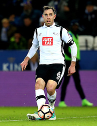 Richard Keogh of Derby County passes the ball - Mandatory by-line: Robbie Stephenson/JMP - 08/02/2017 - FOOTBALL - King Power Stadium - Leicester, England - Leicester City v Derby County - Emirates FA Cup fourth round replay