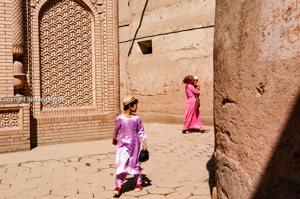 Scenes from old town in Kashgar in Xinjiang Province on Silk Road in China