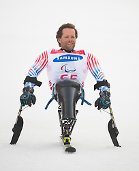 March 14, 2018 - Pyeongchang, South Korea - Tyler Walker after winning the silver medal in the Giant Slalom competition (Sitting) Wednesday, March 14, 2018 at the Jeongson Alpine Center at the Pyeongchang Winter Paralympic Games. Photo by Mark Reis (Credit Image: © Mark Reis via ZUMA Wire)