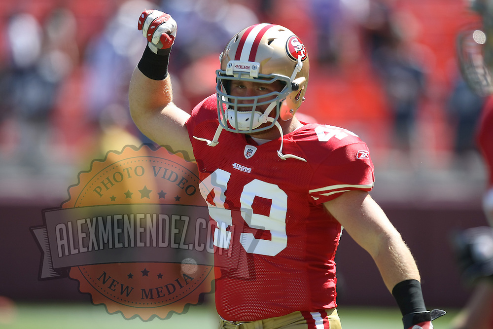 San Francisco 49ers Rookie Fullback Bruce MIller (49) warms up prior to an NFL football game between the Dallas Cowboys and the San Francisco 49ers at Candlestick Park on Sunday, Sept. 18,2011 in San Francisco, California.   (Photo/Alex Menendez) Bruce Miller of the San Francisco 49ers plays in his first NFL season.