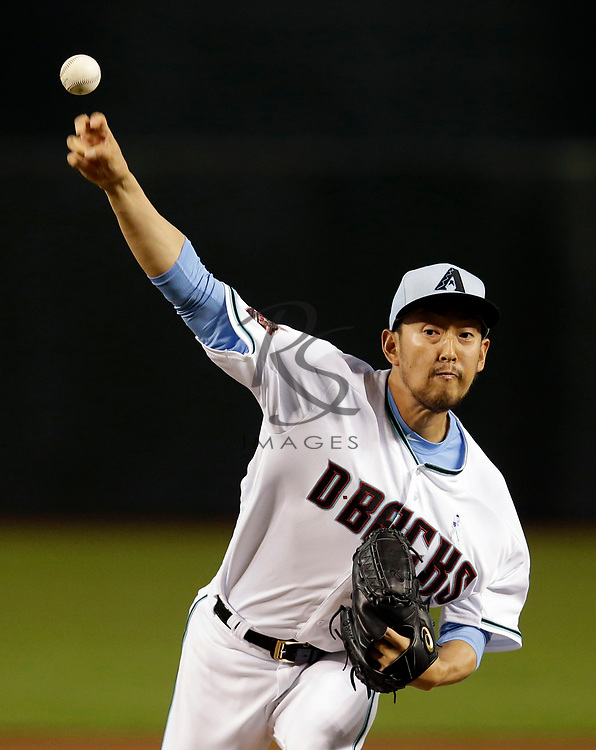 Arizona Diamondbacks relief pitcher Yoshihisa Hirano (66) in the first inning during a baseball game against the New York Mets, Sunday, June 17, 2018, in Phoenix. (AP Photo/Rick Scuteri)