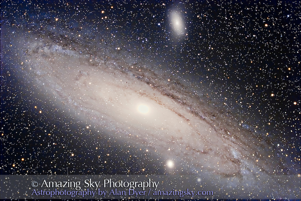 M31 with 5-inch AP apo at f/4.5 with telecompressor/field flattener and Canon 20Da camera. Stack of four 15-minute exposures + two 2-minute exposures for the core. Taken from home Oct. 15, 2006. Image sharpened with 10 and 50 pixel High pass filters.