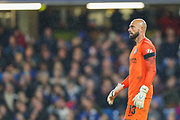 Chelsea goalkeeper Wilfredo Caballero (13) during the EFL Cup 4th round match between Chelsea and Derby County at Stamford Bridge, London, England on 31 October 2018.