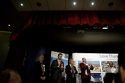UKIP leader Nigel Farage (third from left) and the candidates standing in the South Thanet by-election applaud the announcement of Conservative candidate Craig MacKinlay as the winner of the 2015 South Thanet election count held in the Winter Gardens, Margate. Photo credit: Mary Turner