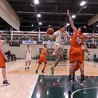 1st year guard Brayden Kuski (15) of the Regina Cougars in action during the Men's Basketball Play-In game on February  8 at Centre for Kinesiology, Health and Sport. Credit: Arthur Ward/Arthur Images