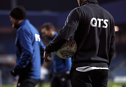 "General view of a Derby County player with a matchball before the Sky Bet Championship match at Loftus Road, London. PRESS ASSOCIATION Photo. Picture date: Tuesday March 6, 2018. See PA story SOCCER QPR. Photo credit should read: Tim Goode/PA Wire. RESTRICTIONS: EDITORIAL USE ONLY No use with unauthorised audio, video, data, fixture lists, club/league logos or ""live"" services. Online in-match use limited to 75 images, no video emulation. No use in betting, games or single club/league/player publications."
