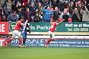 Charlton Athletic defender, Jorge Teixeira (50) celebrating scoring 2-1 during the Sky Bet Championship match between Charlton Athletic and Birmingham City at The Valley, London, England on 2 April 2016. Photo by Matthew Redman.