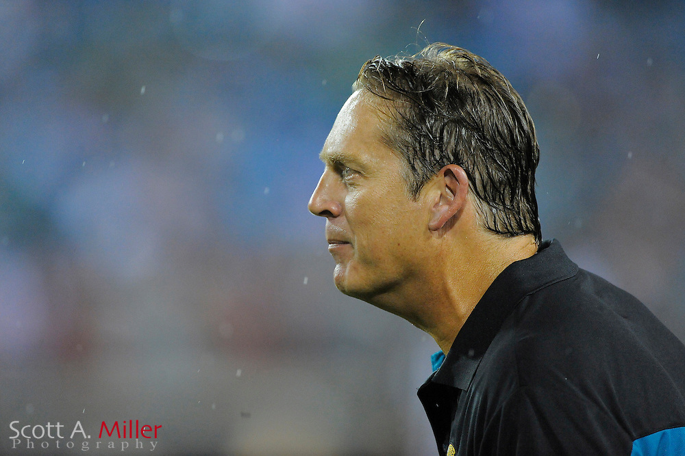 Aug. 21, 2010; Jacksonville, FL, USA; Jacksonville Jaguars head coach Jack Del Rio during his team's game against the Miami Dolphins at EverBank Field. ..©2010 Scott A. Miller