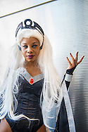 Cosplayer ANGELINE from New York is the character Storm, with long white hair, from X-Men, at the 10th Annual New York Comic Con. NYCC 2015 is expected to be the biggest one ever, with over 150,000 attending during the 4 day ReedPOP event, from October 8 through Oct 11, at Javits Center in Manhattan