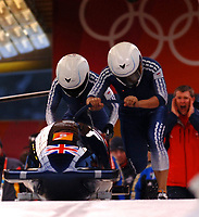 Photo: Catrine Gapper.<br />Winter Olympics, Turin 2006. Womens Bobsleigh. 21/02/2006. <br />GBR team finishes 9th in the Womens Bobsleigh.