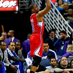 Mar 27, 2013; New Orleans, LA, USA; Los Angeles Clippers point guard Chris Paul (3) shoots against the New Orleans Hornets during the first quarter of a game at the New Orleans Arena. Mandatory Credit: Derick E. Hingle-USA TODAY Sports