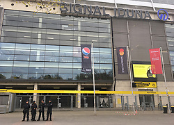Armed security outside of the Signal Iduna Park home of Borussia Dortmund.