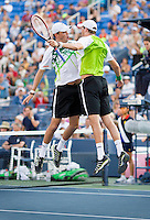 Twins Bob and Mike Bryan, the greatest doubles tennis pair of all time, celebrate at the U.S. Open. They are the only doubles team in history to win every major title, having won all four Grand Slams, Olympic Gold, all 9 Masters series titles, the Year-End Championships and the Davis Cup during their careers.