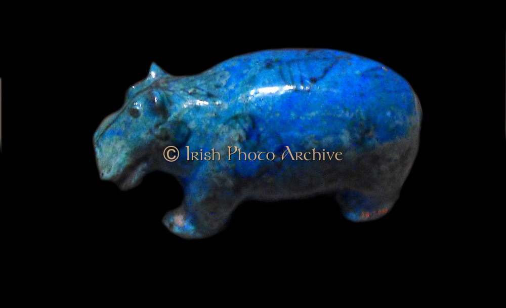 Faience Hippopotamus from Egypt. Middle Kingdom 12th Dynasty ca. 1981–1885 B.C.Tomb of Senbi, Burial 3, pit 1, Khashaba 1910