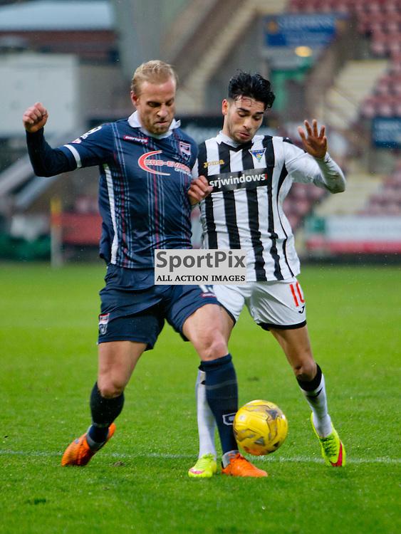 Dunfermline Athletic v Ross County Scottish Cup Season 2015/16 East End Park 09 December 2015<br /> Andrew Davies battles with Faissal El Bakhtaoui<br /> CRAIG BROWN | sportPix.org.uk