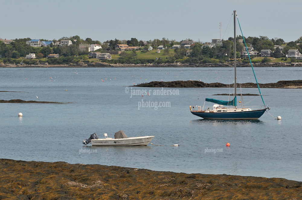 Bailey's Island, Power and Sail Boat at the Greeley Cottage, South Harpswell, Maine
