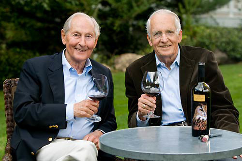 Three Hoots Wines founders Jim Dyke and Jiggs Davis in St. Helena, CA.