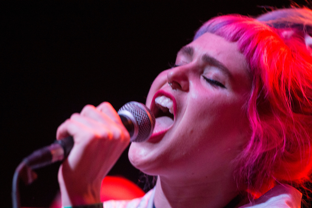 Emily Nokes of Tacocat performing at the Constellation Room in Santa Ana, CA, April 19, 2017