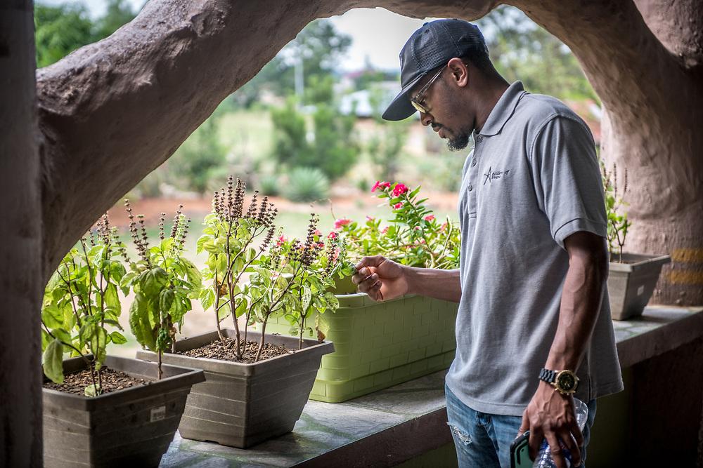 A man checks on growing plants in pots in Ganta Liberia