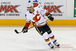 Jan 17, 2012; San Jose, CA, USA; Calgary Flames right wing Jarome Iginla (12) warms up before the game against the San Jose Sharks at HP Pavilion. San Jose defeated Calgary 2-1 in shootouts. Mandatory Credit: Jason O. Watson-US PRESSWIRE