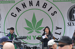 May 4, 2019 - New  York, NY, United States - An activist seen speaking during the parade..Annual Cannabis Parade in New York City. The parade began in Herald Square at 34th Street with a march down Broadway to Union Square. The NYC Cannabis Parade and Rally is part of the Global Marijuana March, which is held on the first Saturday in May at different locations around the world to promote, educate and advocate cannabis culture through various types of programs. (Credit Image: © Ryan Rahman/SOPA Images via ZUMA Wire)