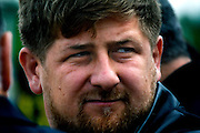 Chechen President Ramzan Kadyrov attends a horse race in Moscow's Hippodrome.