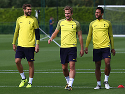 September 12, 2017 - Enfield, Greater London, United Kingdom - L-R Tottenham Hotspur's Fernando Llorente,  Tottenham Hotspur's Harry Kane and Tottenham Hotspur's Mousa Dembele.during a Tottenham Hotspur training session ahead of the UEFA Champions League Group H match against Borussia Dortmund  at Tottenham Hotspur Training centre on 12 Sept , 2017 in Enfield, England. (Credit Image: © Kieran Galvin/NurPhoto via ZUMA Press)