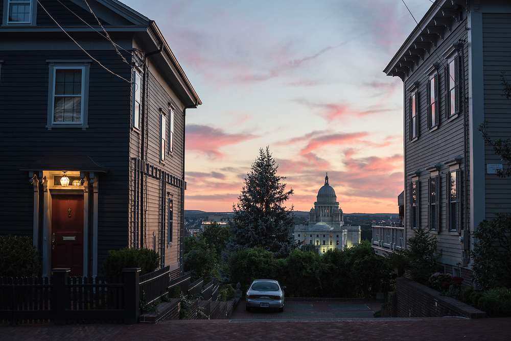 The sunset seen behind College Hill in Providence.