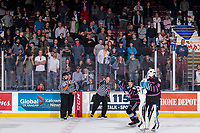 KELOWNA, BC - SEPTEMBER 21:   Referee Sean Raphael calls the goal good and Kyle Topping #24 of the Kelowna Rockets celebrates the win against the Spokane Chiefs at Prospera Place on September 21, 2019 in Kelowna, Canada. (Photo by Marissa Baecker/Shoot the Breeze)