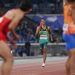 YOKOHAMA, JAPAN - MAY 11: Gardeo Isaacs of South Africa during day 1 of the IAAF World Relays at Nissan Stadium on May 11, 2019 in Yokohama, Japan. (Photo by Roger Sedres/Gallo Images)