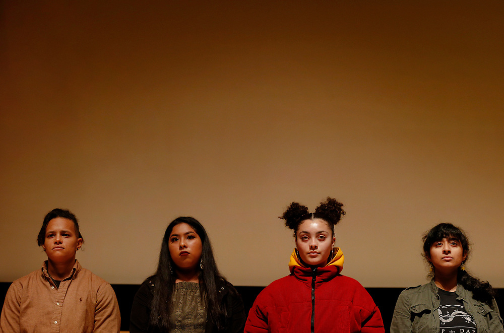 From left: Youth Speaks poets Cecelia Jordan, Nayeli Cuiriz Galvan, Quinn Edlin and Arati Warrier stand for a photo after their rehearsal at the San Francisco Public Library's Koret Auditorium, Saturday, Jan. 6, 2018, in San Francisco, Calif. Youth Speaks will be putting on its annual Bringing the Noise event, which commemorates Martin Luther King, Jr. through performances of spoken-word poetry. This year marks both the 20th anniversary of the Bringing the Noise event and the 50th anniversary of MLK's assassination.