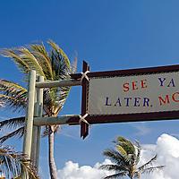 Caribbean, Bahamas, Castaway Cay. Castaway Cay Sign.